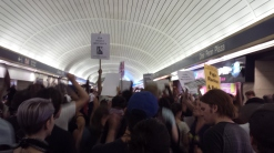 Activists marching through Penn Station last month, on the one year anniversary of Eric Garner's death.